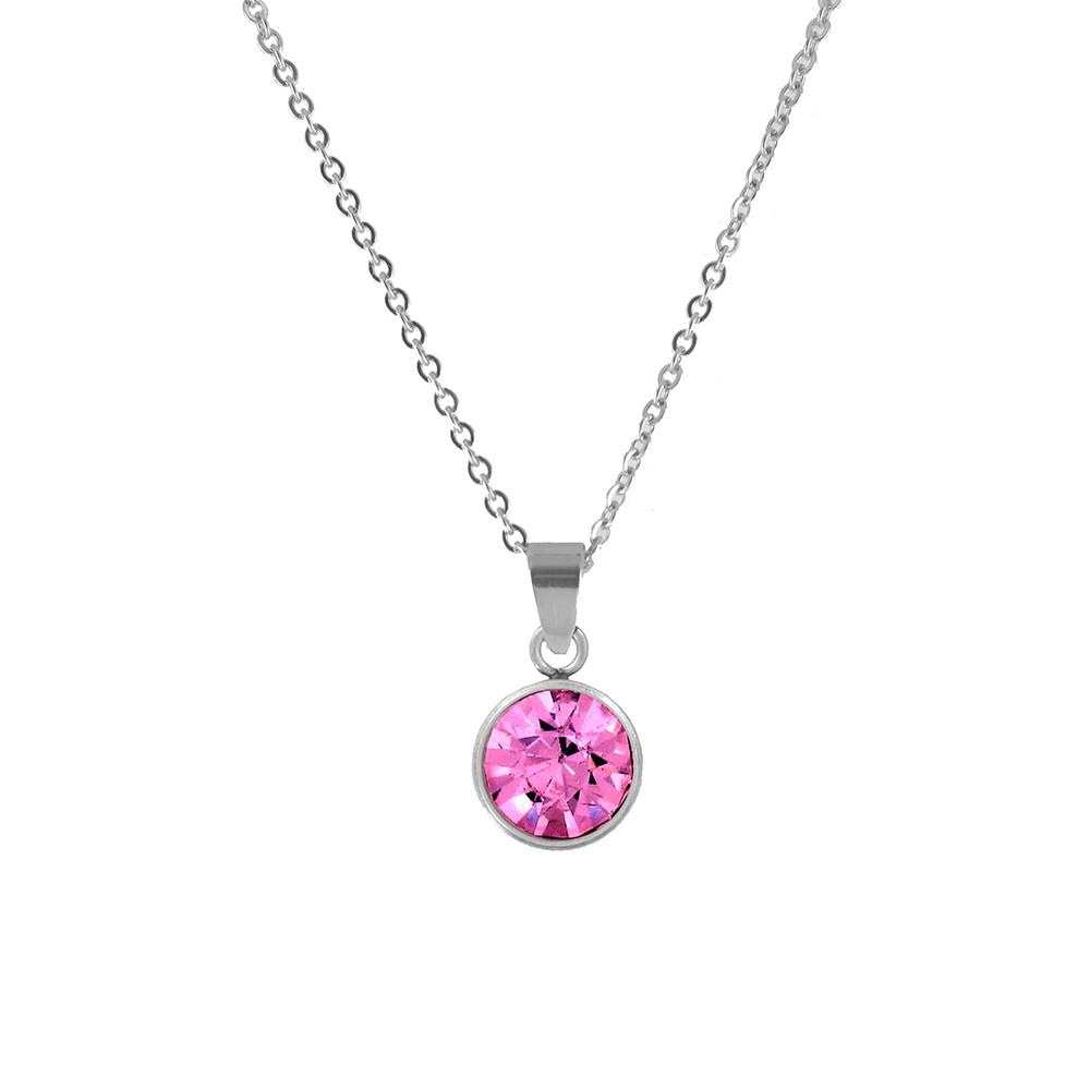 CO88 Collection 8CN-10021 - Stalen collier met geboortesteen oktober | rozenkwarts 10 mm - lengte 42 + 5 cm - roze / zilverkleurig