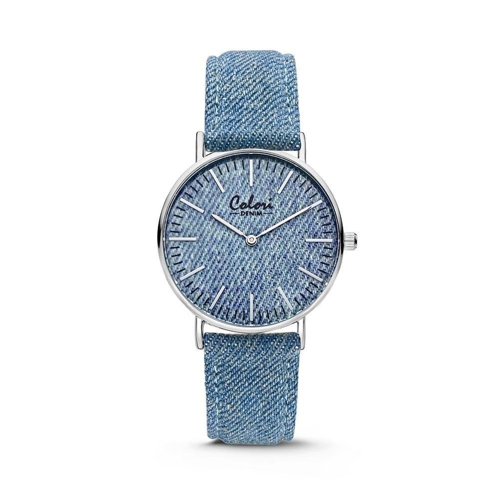 Colori - Denim - 5-COL418 - Horloge - lichtblauw - 36 mm