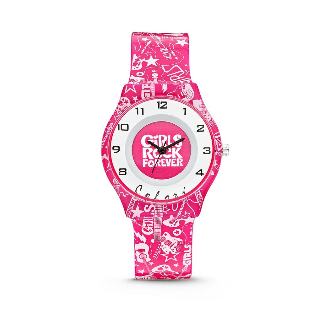 Colori Funtime 5-CLK040 - Kinderhorloge - siliconen band - muziek print roze - 34 mm
