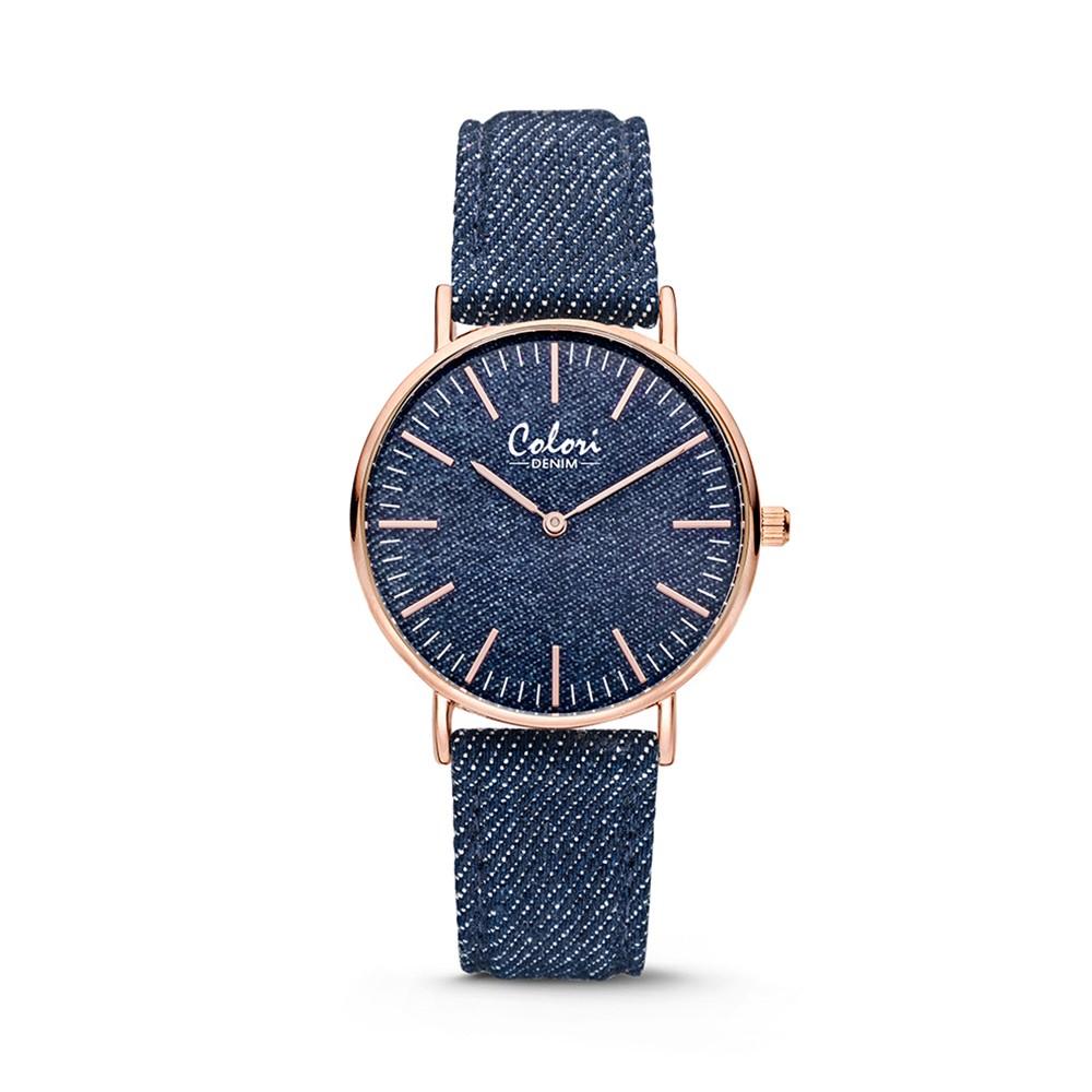 Colori - Denim - 5-COL415 - Horloge - denim band - donkerblauw - 36 mm