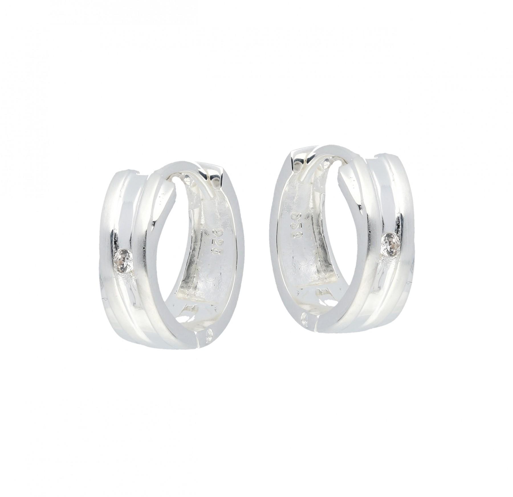 Zilveren klapcreolen - mat glanzend - zirkonia  107.0655.00