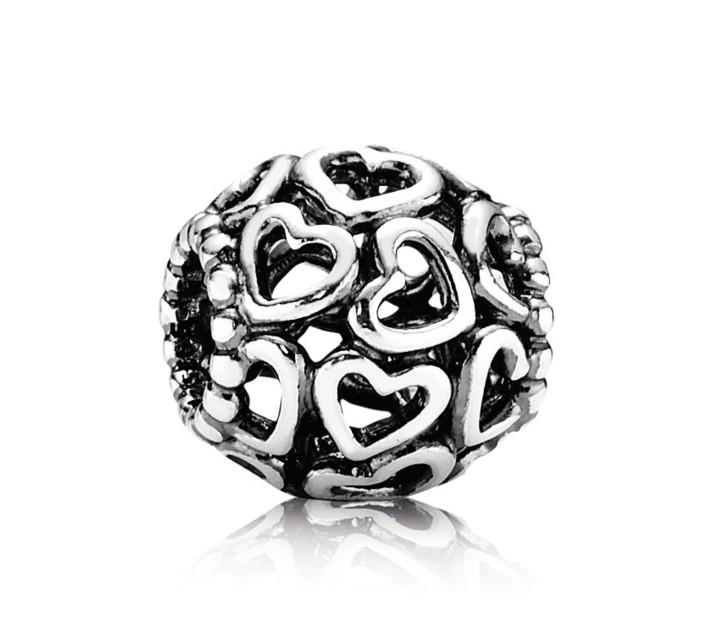 Pandora Opengewerkte Bedel zilver 'Hartjes' 790964