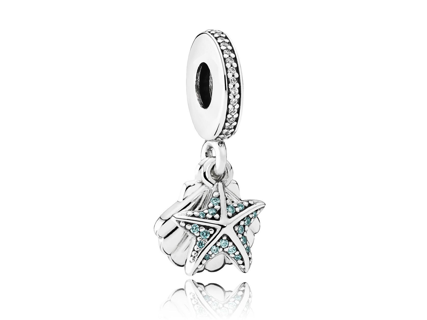 Pandora hangbedel zilver 'Tropische Zeester en Schelp' 792076CZF