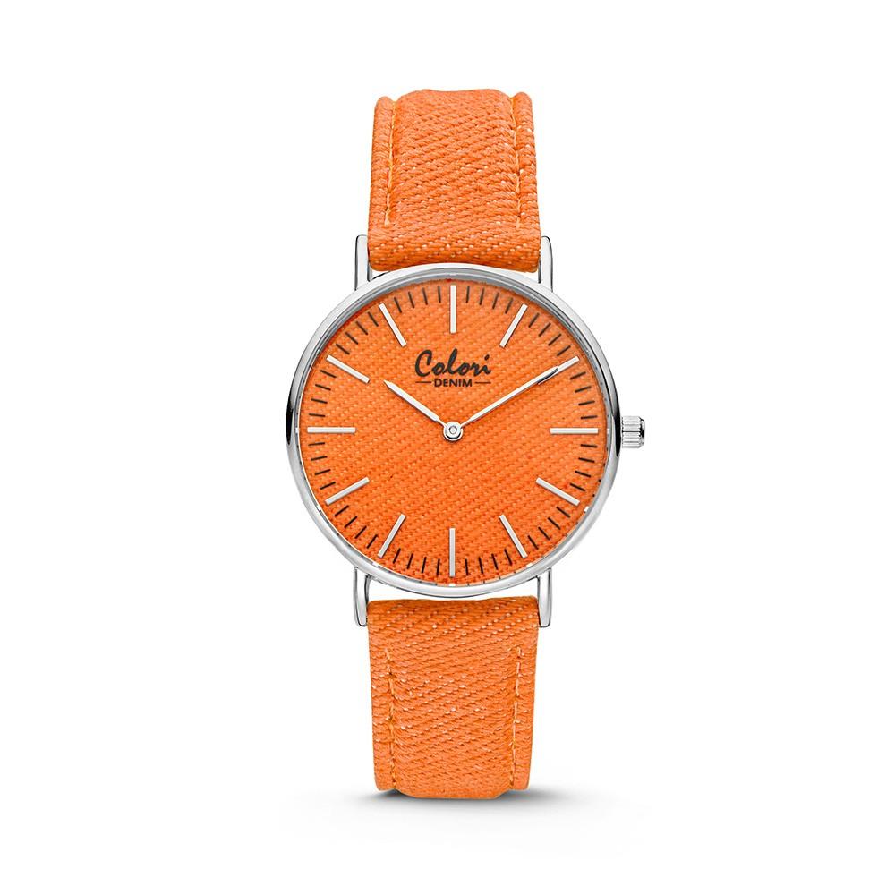 Colori - Denim - 5-COL421 - Horloge - denim band - oranje - 36 mm