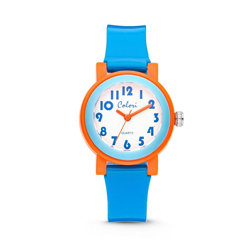 Colori 5-CLK051 - Kinderhorloge - kunstsof - 28 mm -blauw met oranje