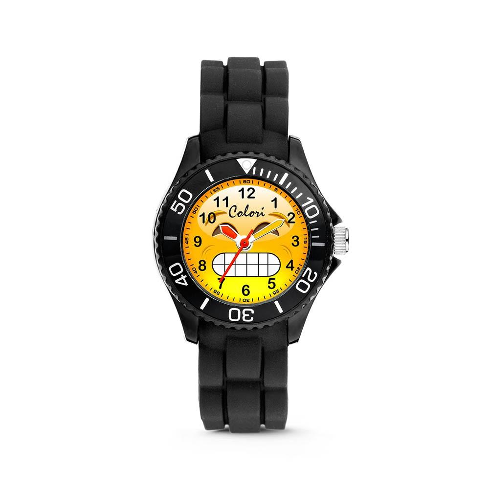 Colori Happy Smile 5-CLK070 - Kinderhorloge - siliconen band - zwart - 30 mm