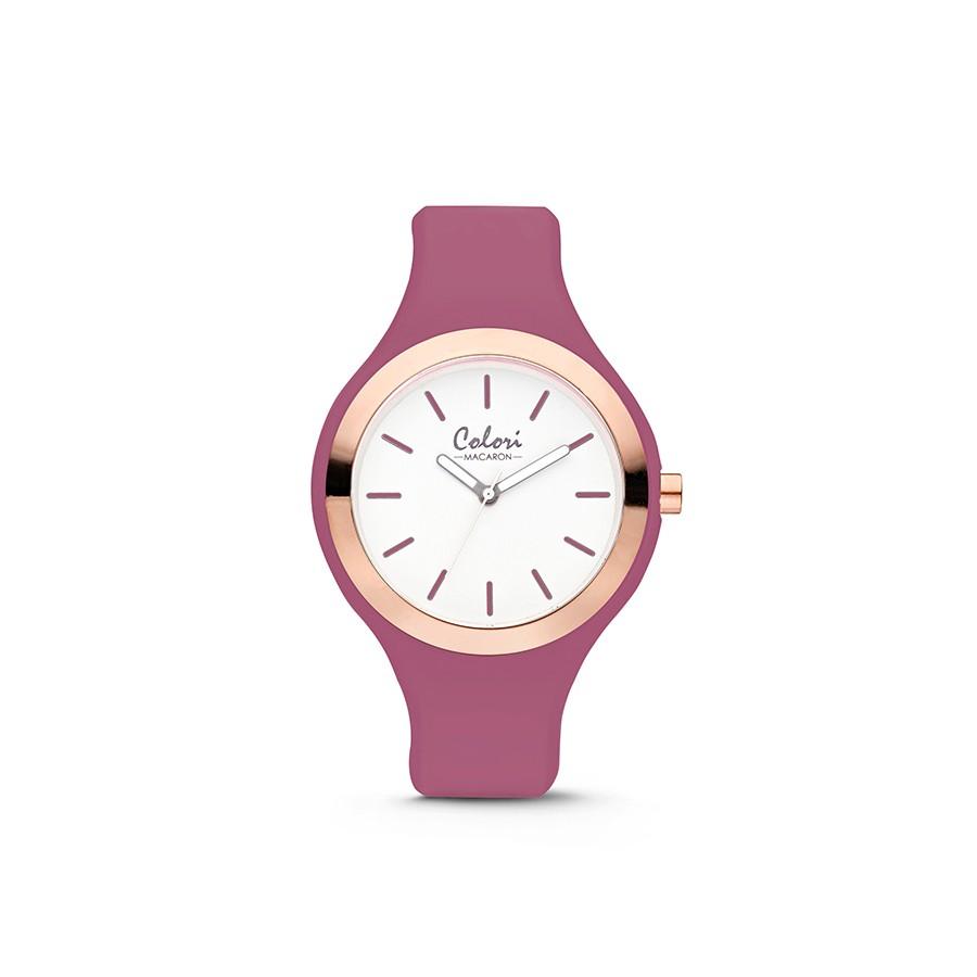 Colori Macaron 5-COL512 - Horloge - siliconen band - vintage roze - 30 mm