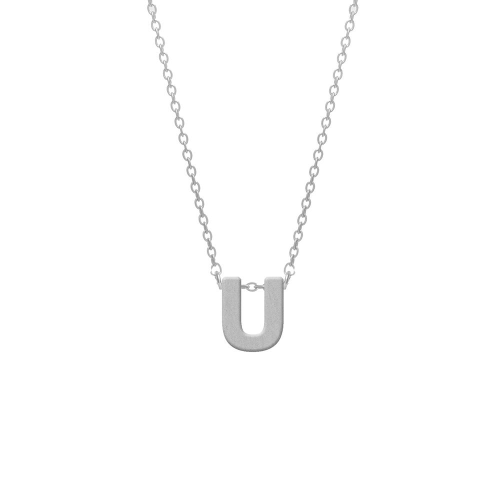 CO88 Collection 8CN-11020 - Stalen collier - letterhanger U 9 mm - lengte 42+5 cm - zilverkleurig