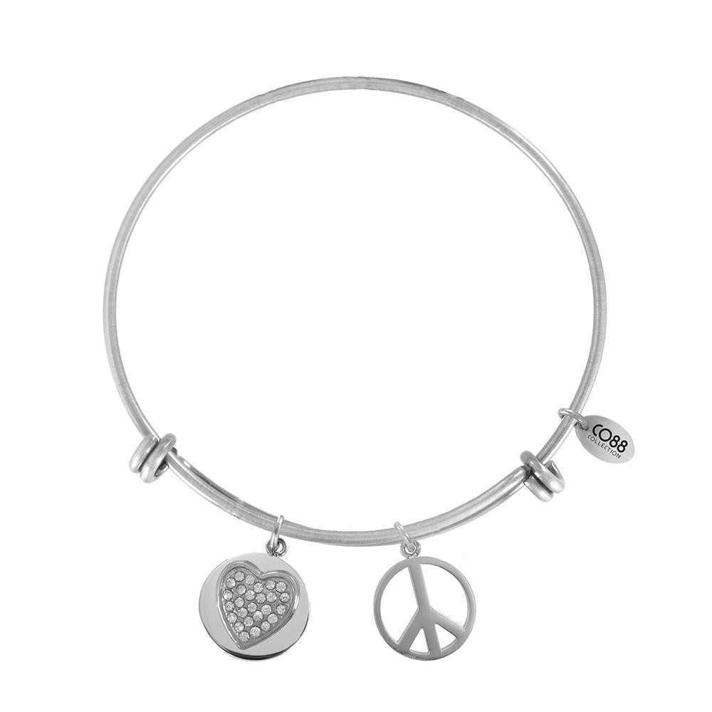 CO88 Collection 8CB-20007 - Stalen bangle met bedels - zirkonia hart en peace symbool - one-size - zilverkleurig