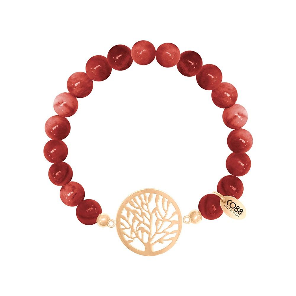 CO88 Collection 8CB-80017 - Rekarmband met bedels - Agaat natuursteen 8 mm - levensboom - one-size - rood / goudkleurig