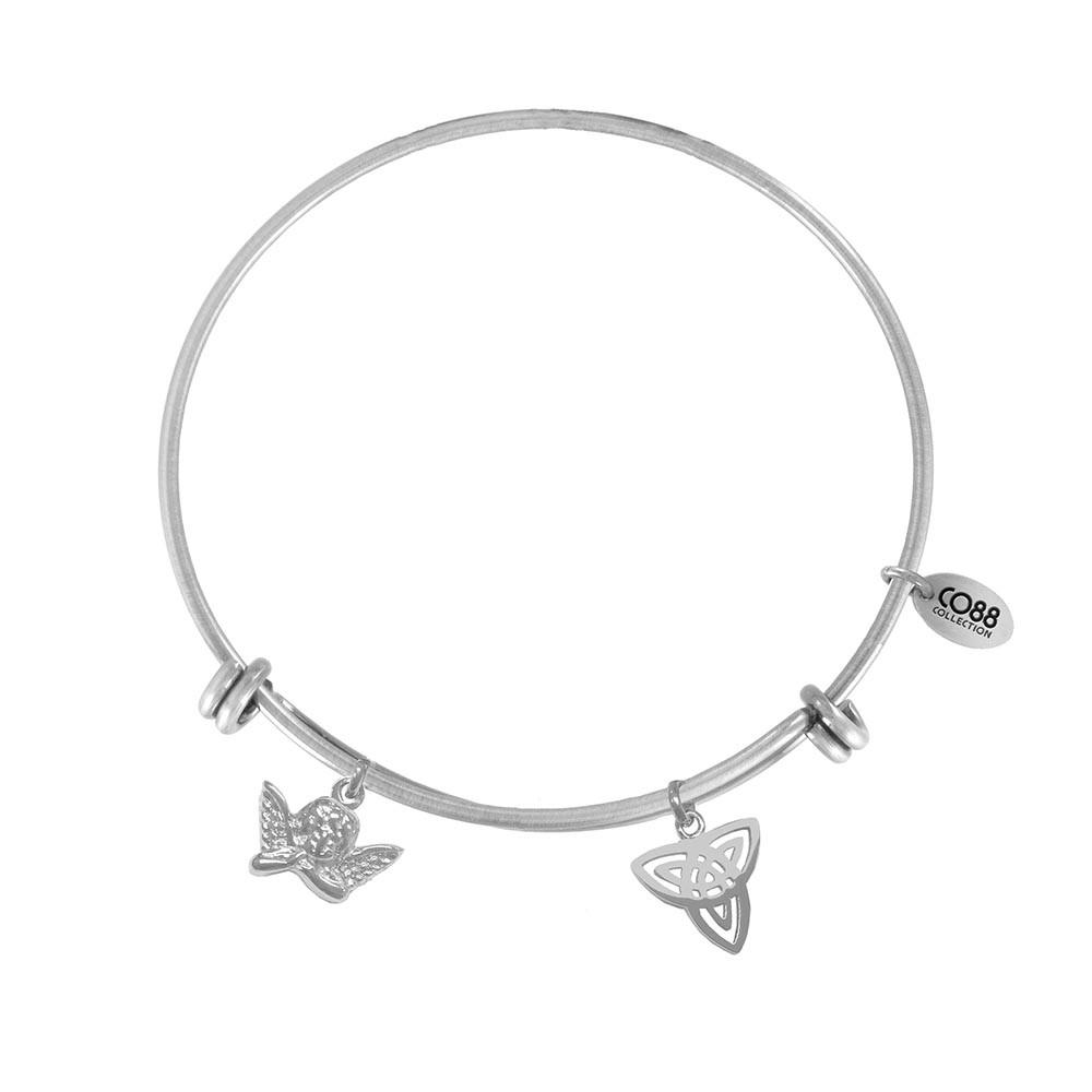 CO88 Collection 8CB-21008 - Stalen bangle met bedels - engel en triquetra - one-size - zilverkleurig