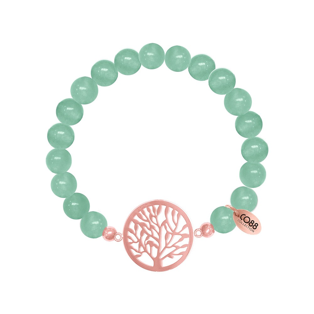 CO88 Collection 8CB-80014 - Rekarmband met bedels - Jade natuursteen 8 mm - levensboom - one-size - groen / rosékleurig