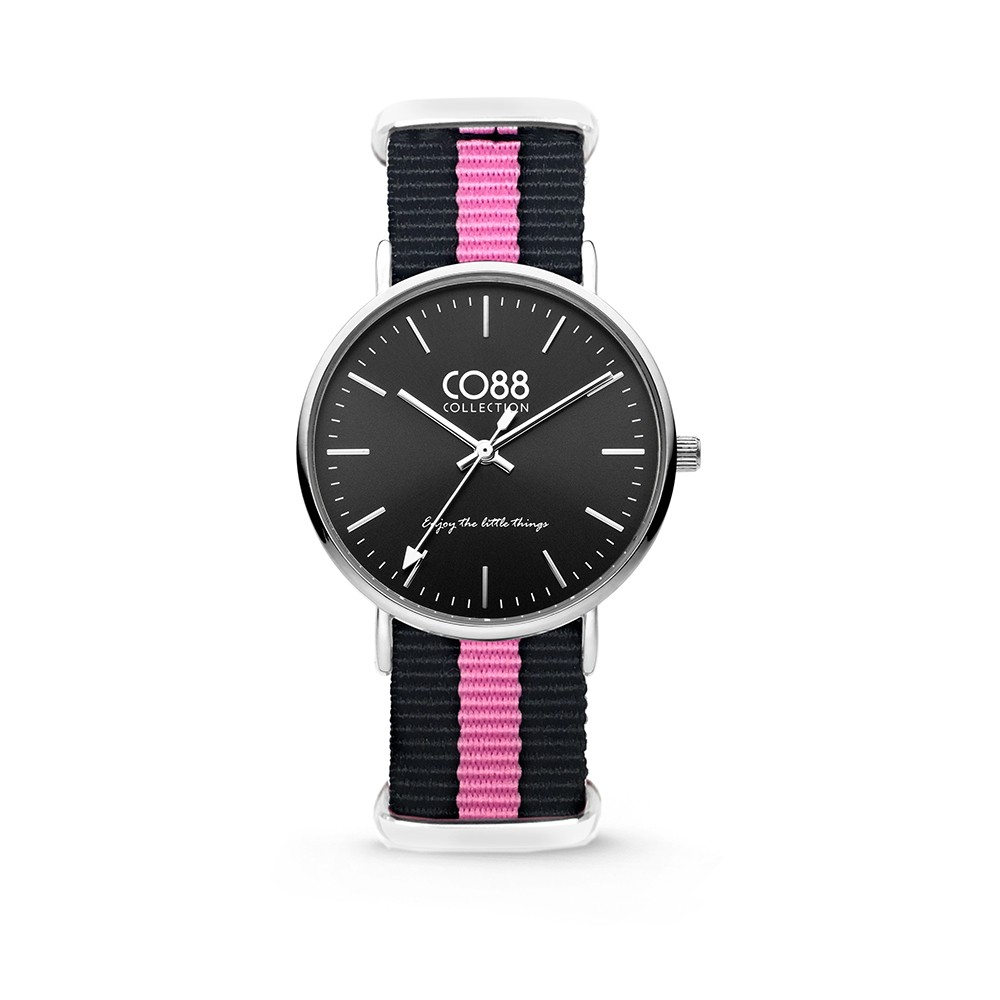CO88 Collection - 8CW-10034 - Horloge - nato nylon - zwart/roze - 36 mm