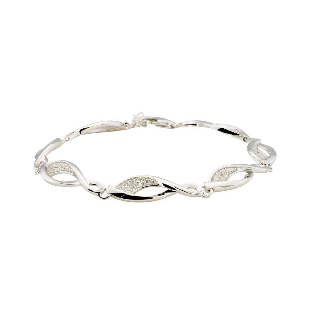 Elegance Schakelarmband zilver met zirconia104.1043.19