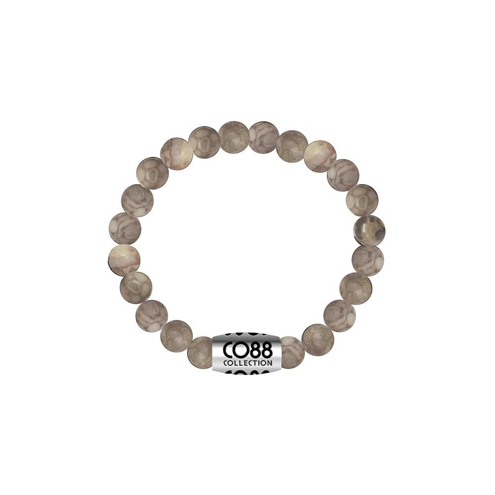 CO88 Collection 8CB-17022 - Armband met bead - Jasper natuursteen 6 mm - lengte 16 cm - beige