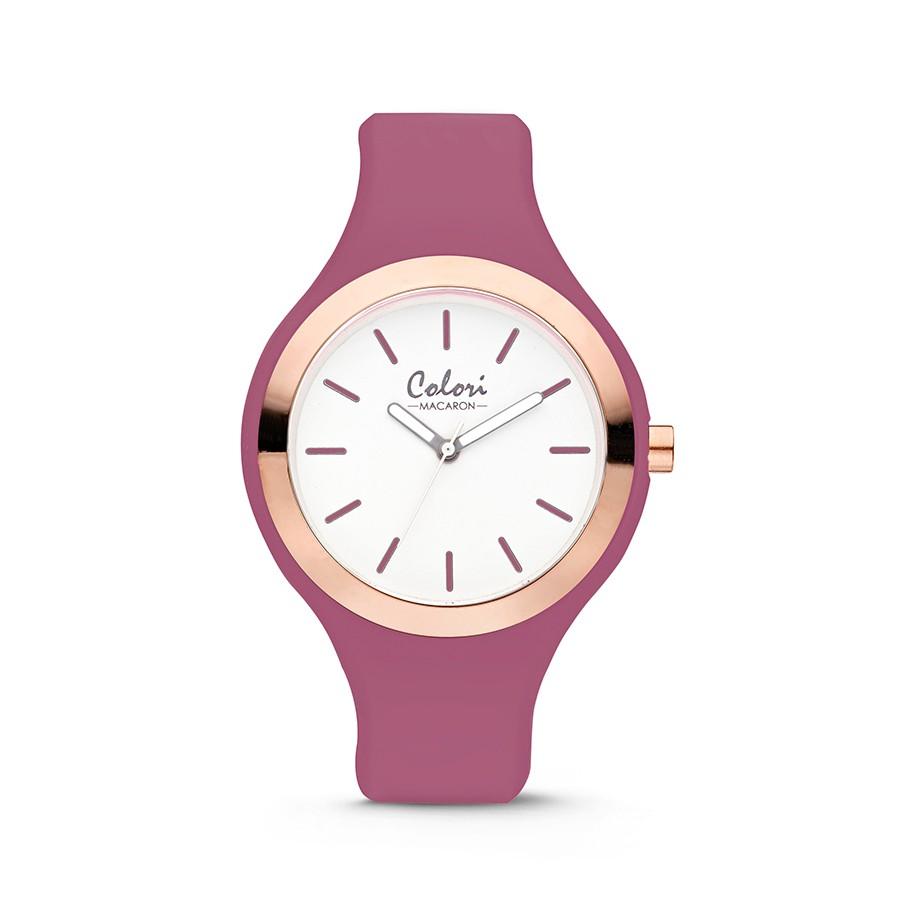 Colori Macaron 5-COL505 - Horloge - siliconen band - donker roze - 44 mm