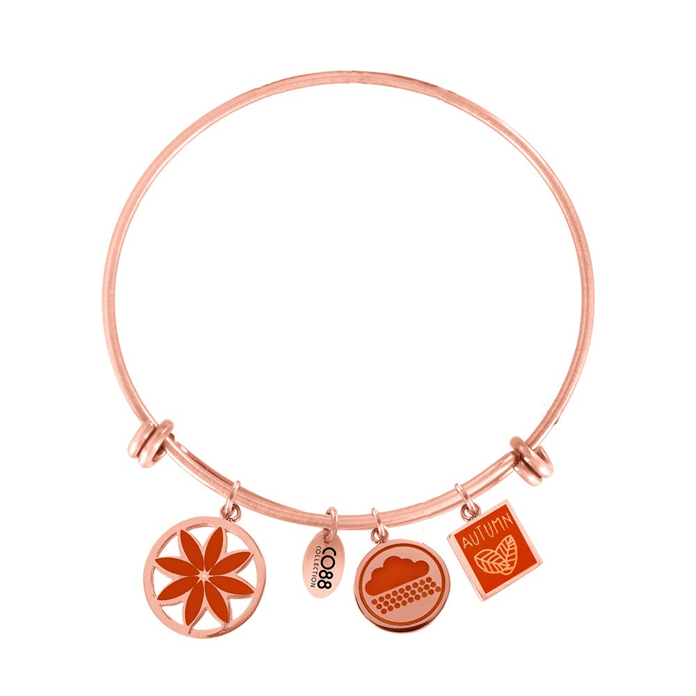 CO88 Collection 8CB-16005 - Stalen bangle met bedels - bloem, wolk en herfst bladeren - one-size - rosékleurig / oranje