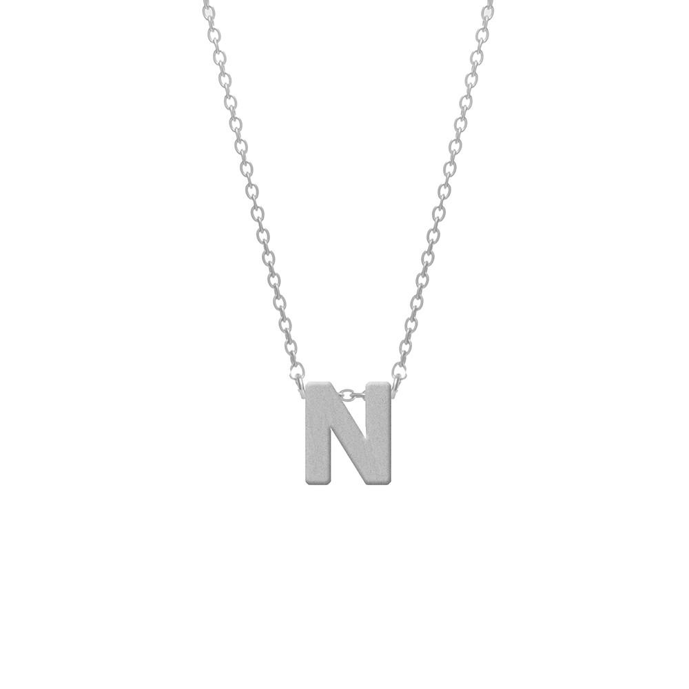 CO88 Collection 8CN-11013 - Stalen collier - letterhanger N 9 mm - lengte 42+5 cm - zilverkleurig