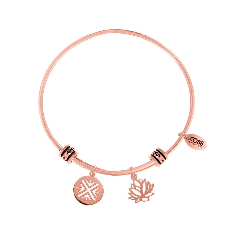 CO88 Collection 8CB-25010 - Stalen bangle met bedels - fantasie bedel en lotus bloem - one-size - rosékleurig