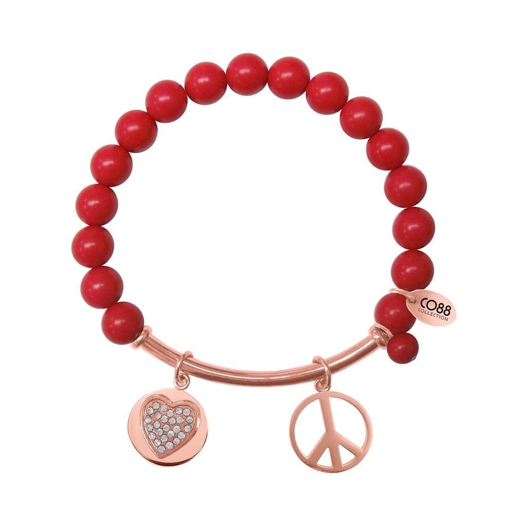 CO88 Collection 8CB-50007 - Rekarmband met natuurstenen, stalen bar en bedels - Rode Zee Bamboe steen 8 mm - zirkonia hart en peace symbool - one-size - rood / rosékleurig