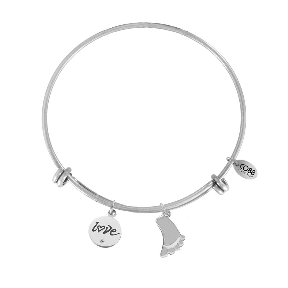 CO88 Collection 8CB-13019 - Stalen bangle met bedel - tekst & voet - Ø 60 mm - zilverkleurig