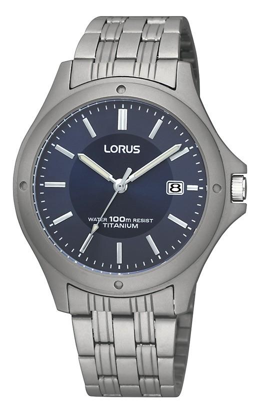 Lorus RXD73EX9 Herenhorloge titanium zilverkleurig-blauw 37 mm