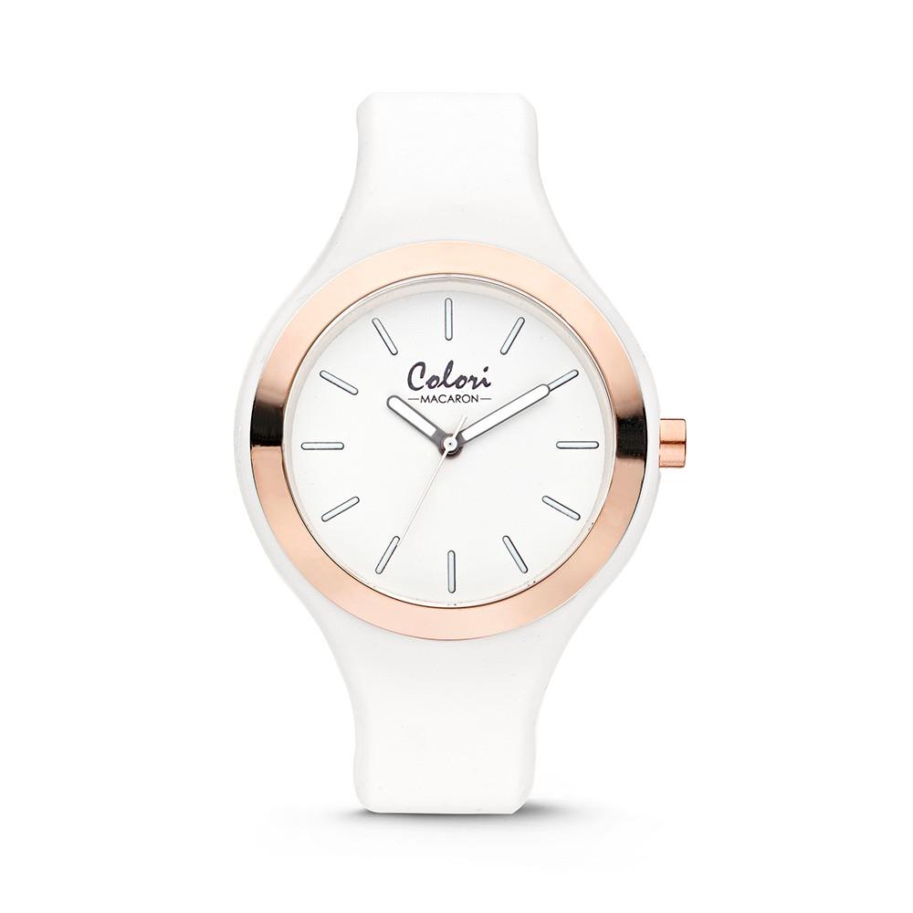 Colori Macaron 5-COL488 - Horloge - siliconen band - wit - 30 mm