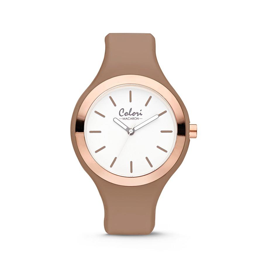 Colori Macaron 5-COL507 - Horloge - silconen band - zandbruin - 44 mm