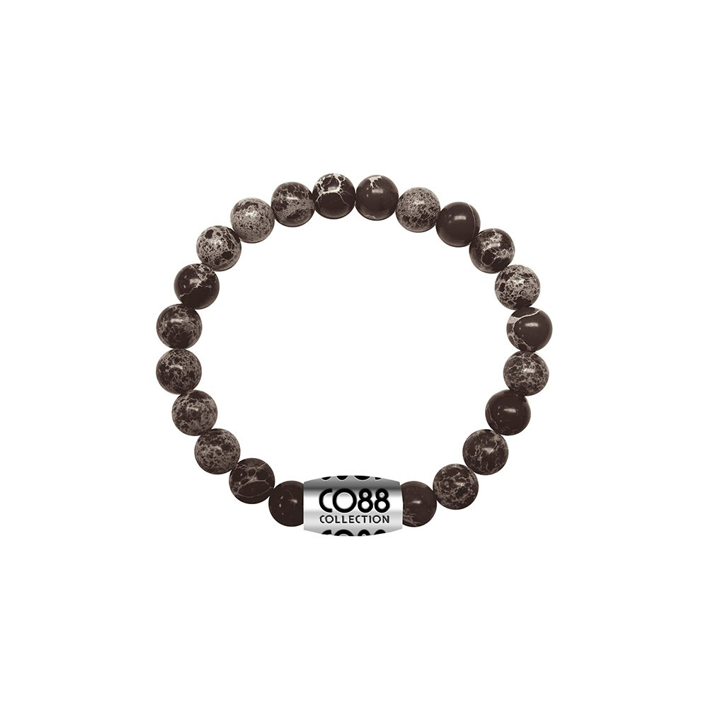 CO88 Collection 8CB-17021 - Armband met bead - Snowflake natuursteen 6 mm - lengte 16 cm - zwart