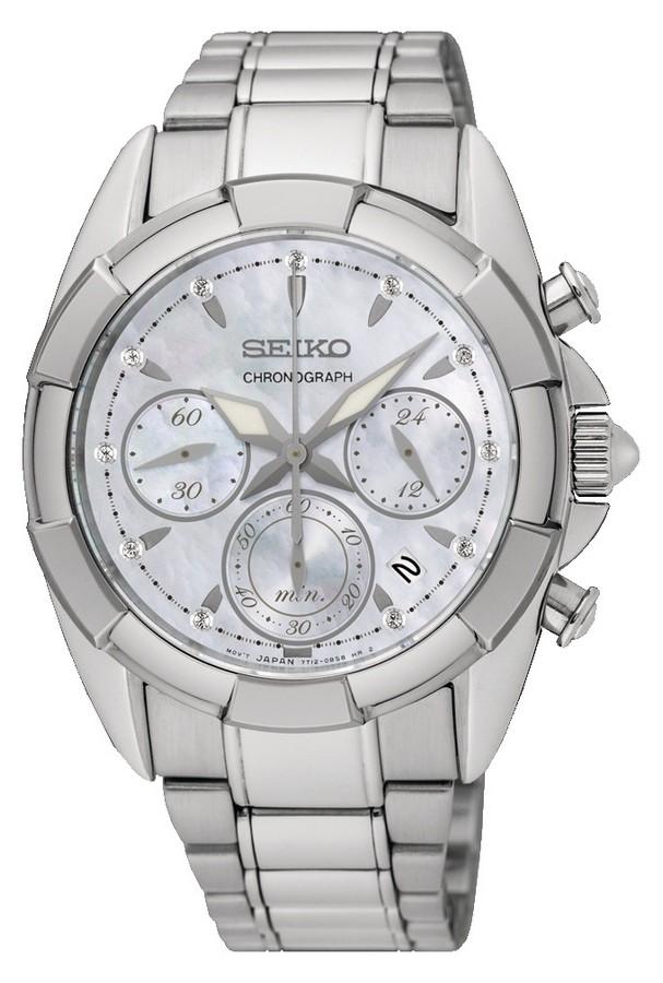 Seiko SRW807P1 Dameshorloge Chronograaf Saffierglas Diamant 40 mm