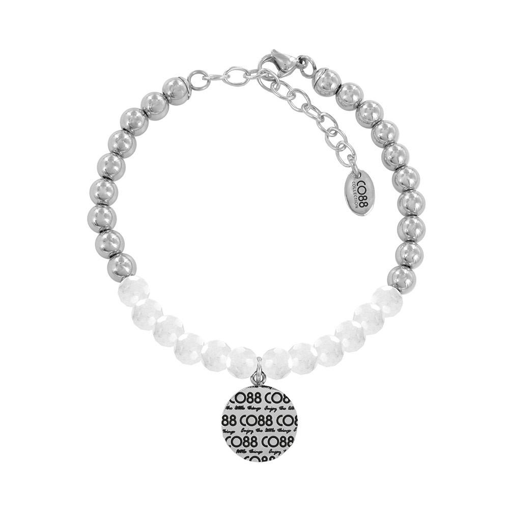 CO88 Collection 8CB-14006 - Armband met bedel - stalen en Jade natuursteen 6 mm - CO88 logo - lengte 17 + 5 cm - wit / zilverkleurig