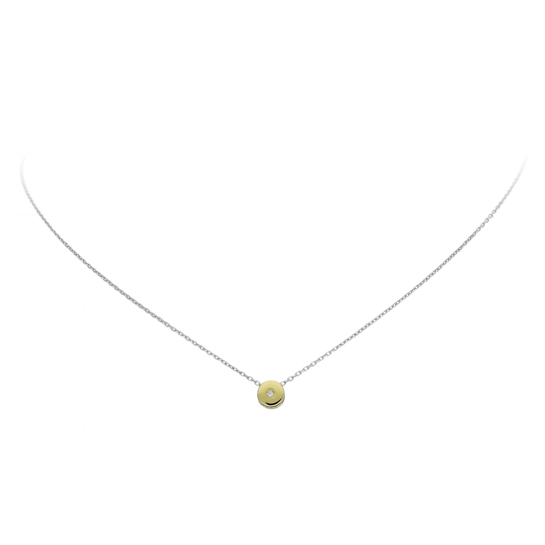 Glow Gouden Collier Met Hanger - 42 Cm Rond Zirkonia Ankerschakel 202.5020.42