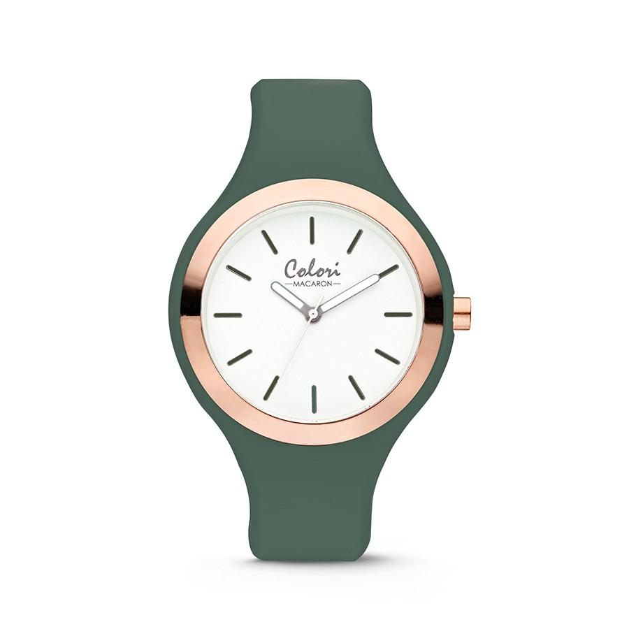 Colori Macaron 5-COL504 - Horloge - siliconen band - donkergroen - 44 mm