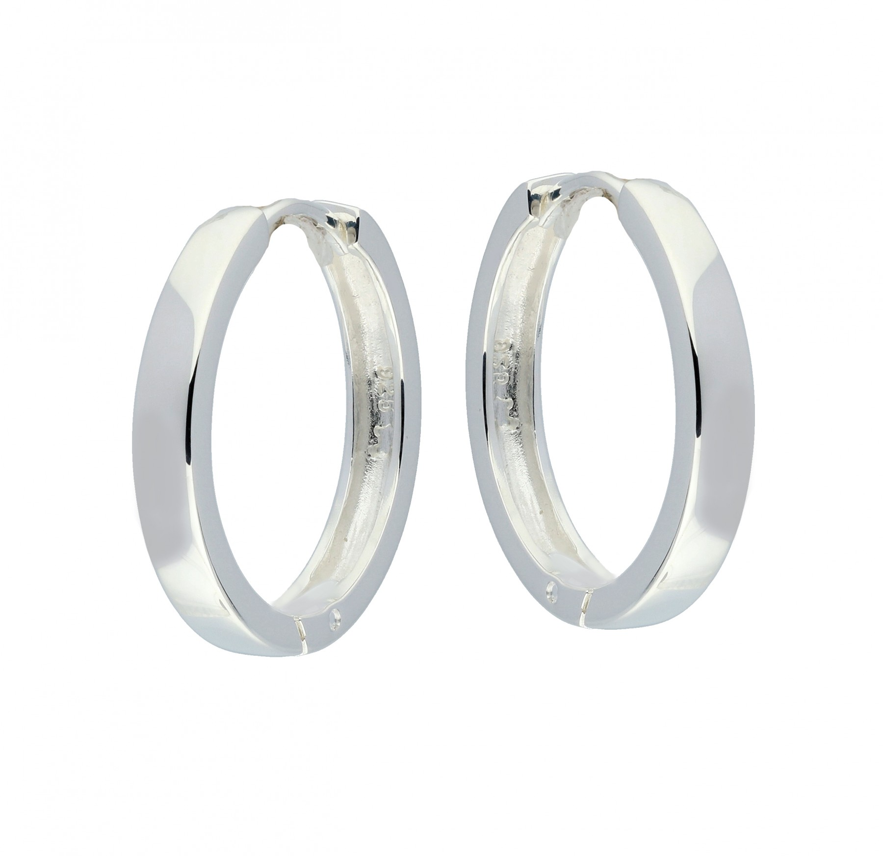 Zilveren 107.0073.20 Oorringen met vierkante buis 3 mm
