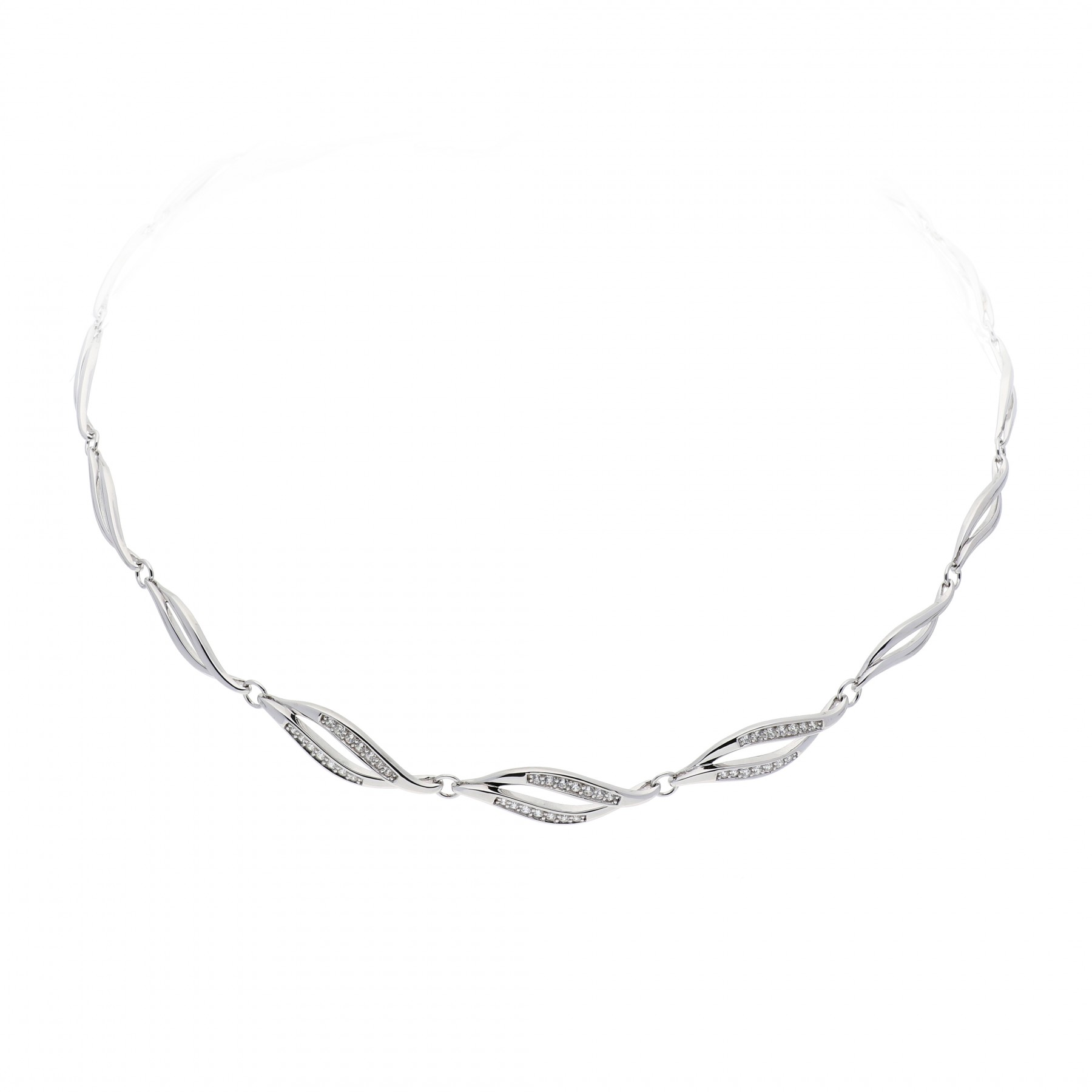 Zilveren ketting choker met zirconia 42-46 cm 103.1042.42