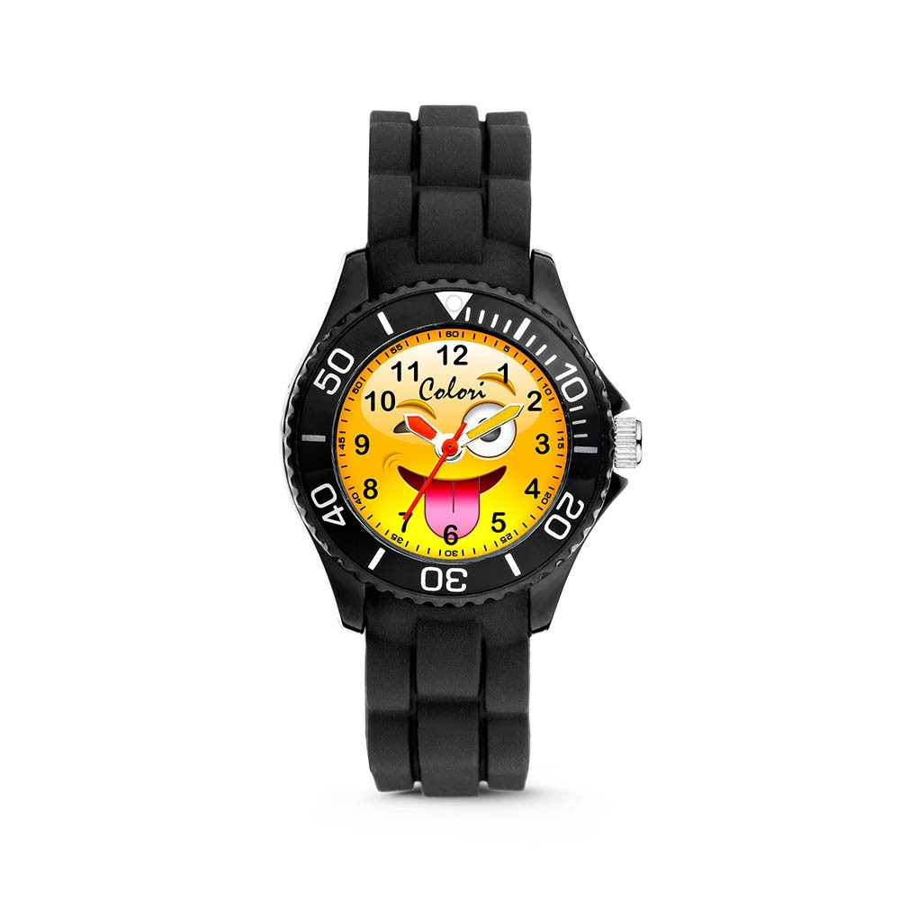 Colori Happy Smile 5-CLK072 - Kinderhorloge - siliconen band - zwart - 30 mm