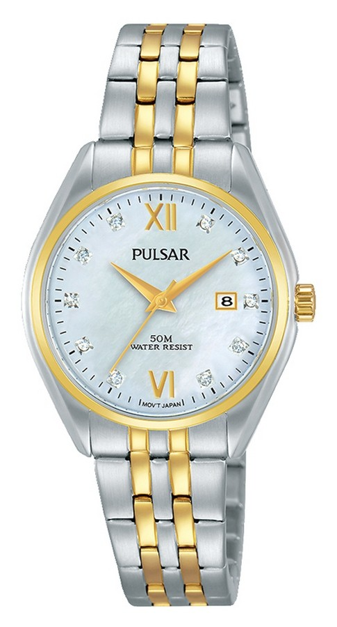 Pulsar Dameshorloge Bicolor Zirkonia's PH7456X1