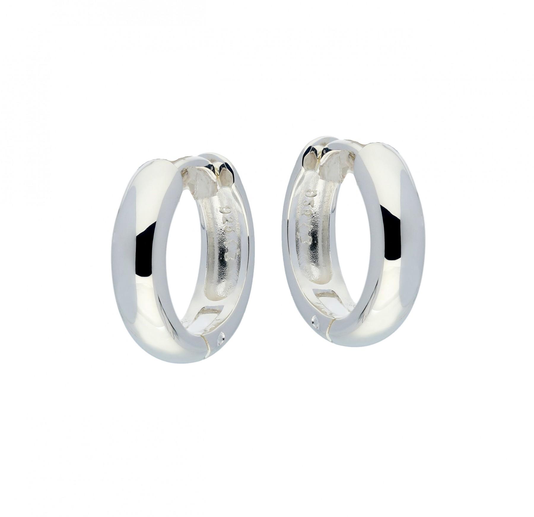 Zilveren klapcreolen - ronde buis 4 mm  107.0068.16