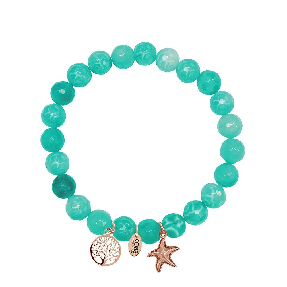 CO88 Collection 8CB-90002 - Armband met bedels - natuursteen en staal - Jade 8 mm - levensboom en zeester - one-size - aqua blauw / goudkleurig