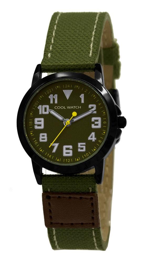Coolwatch kinderhorloge 'Jort' canvas-staal groen-bruin CW.246