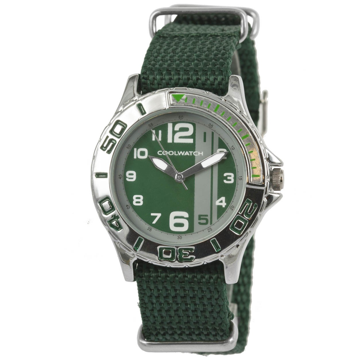 Coolwatch Kinderhorloge staal-canvas Groen P.1588