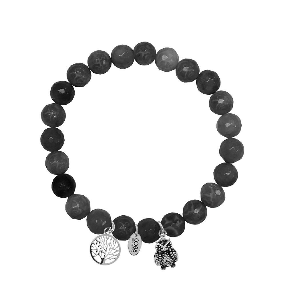 CO88 Collection 8CB-90012 - Armband met bedels - natuursteen en staal - Jade 8 mm - levensboom en uil - one-size - zwart / grijs / zilverkleurig