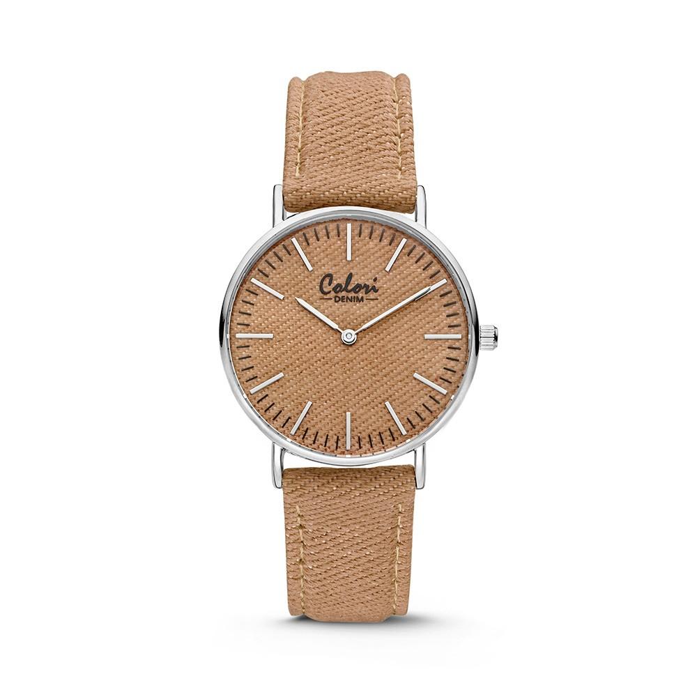 Colori - Denim - 5-COL422 - Horloge - denim band - taupe - 36 mm