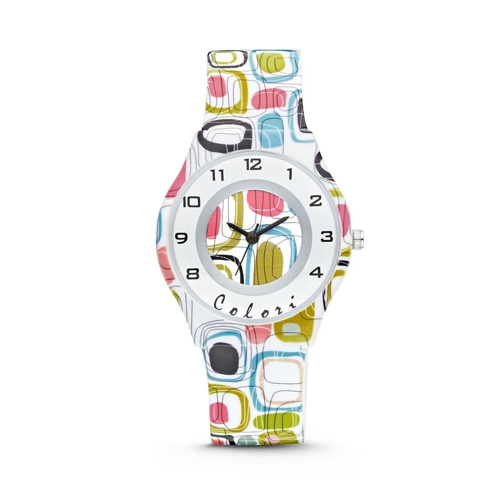 Colori Funtime 5-CLK039 - Kinderhorloge - siliconen band - fantasie print wit - 34 mm