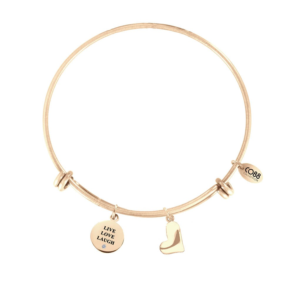CO88 Collection 8CB-13014 - Stalen bangle met bedel - tekst & hart - Ø 60 mm - geelgoudkleurig