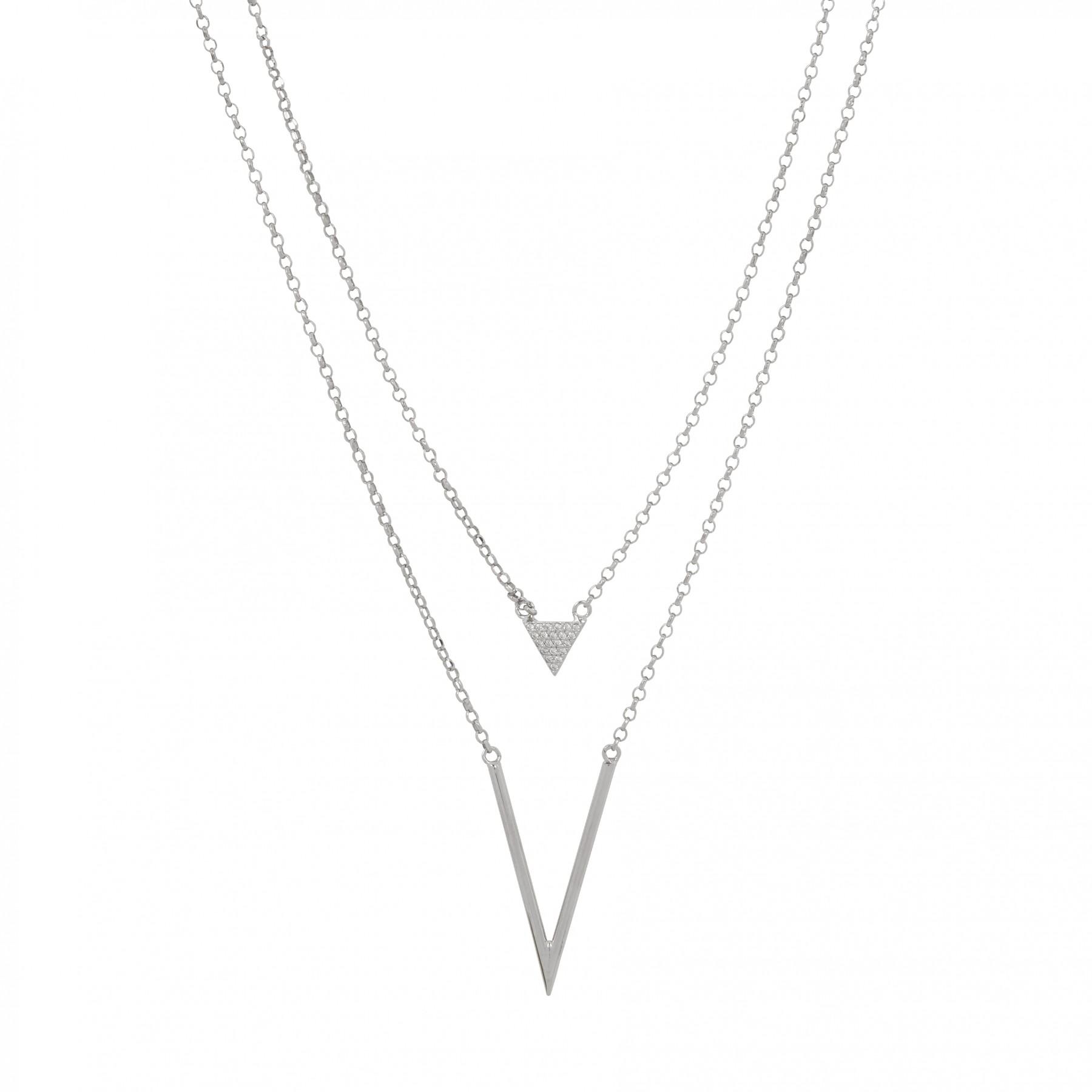Lovenotes Zilveren Multi-layercollier Driehoek 43-48 Cm gerodineerd 102.0569.48