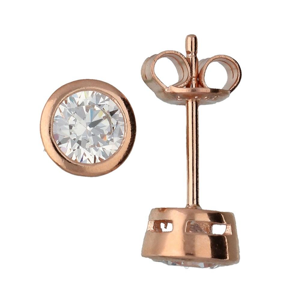 Zilveren Oorknoppen Zirkonia 5,0 mm Rosé-goudverguld 106.0542.05