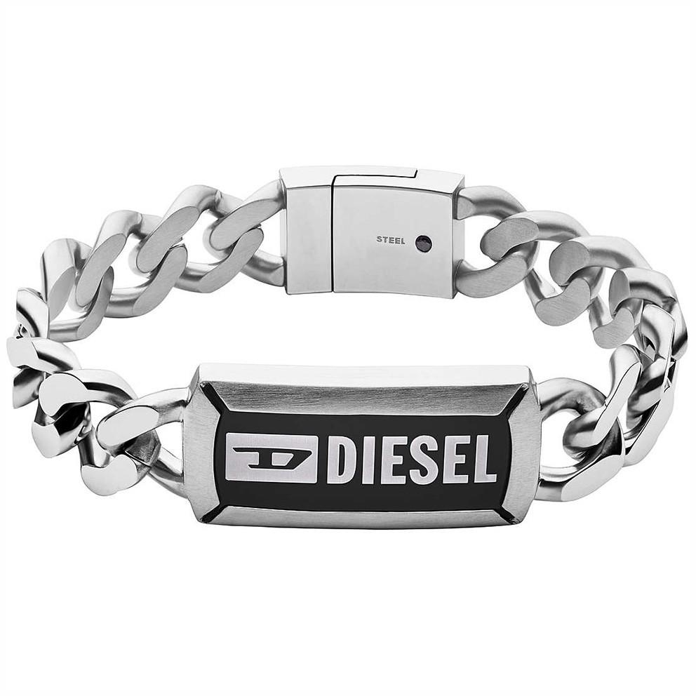 Diesel DX1242040 Armband Steel staal zilverkleurig-zwart 18,5 cm