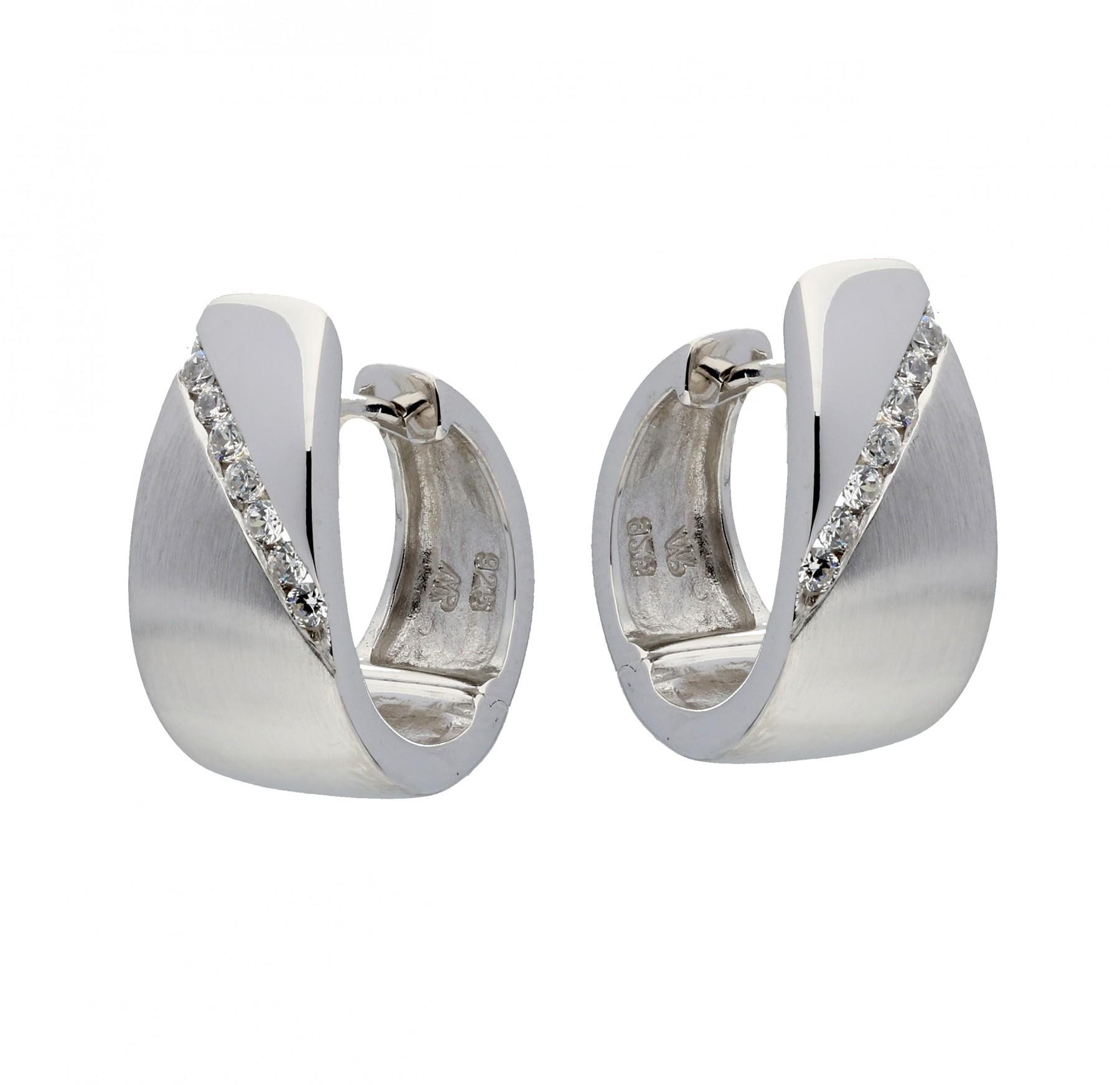 Zilveren klapcreolen -  met zirkonia - gerodineerd 107.6210.00
