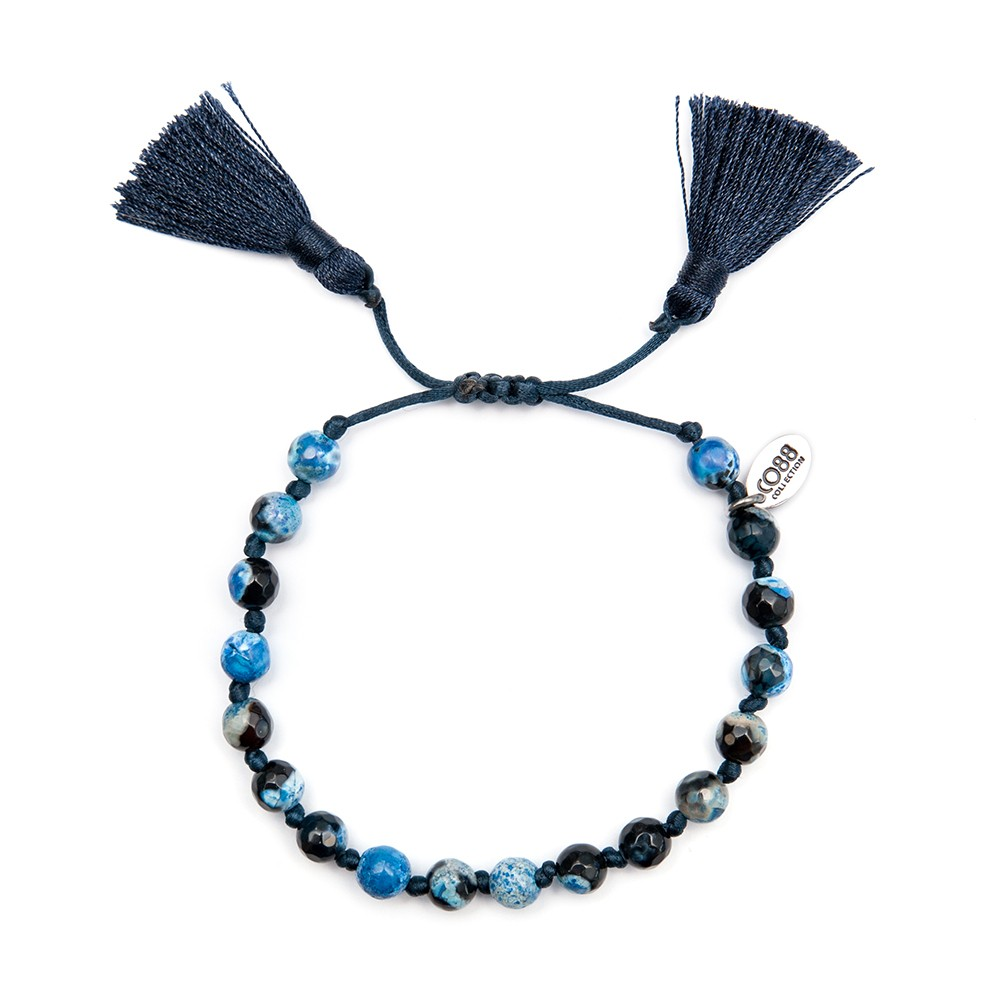 CO88 Collection 8CB-80041 - Armband met kwast - Agaat 6 mm - schuifsluiting - one-size - donkerblauw